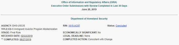 EB-5 Alert – EB-5 Regulations Advance