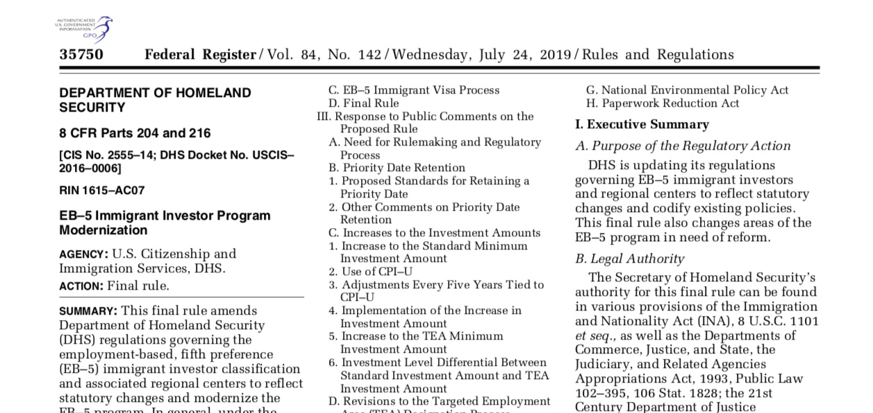 EB-5 Notes – Regulations