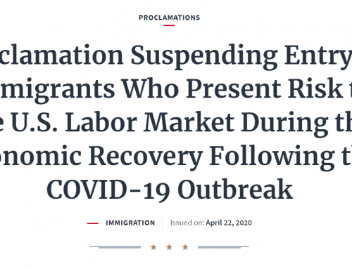 Presidential Proclamation Limits Immigrant Admissions but Exempts EB-5